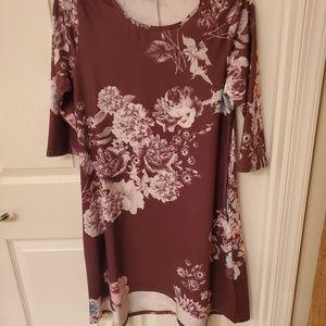 Purple floral long sleeve dress casual